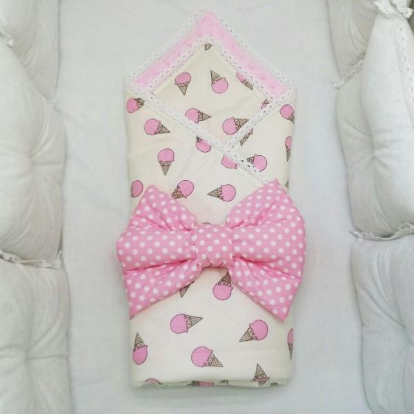 Розовый конверт-одеяло на выписку
